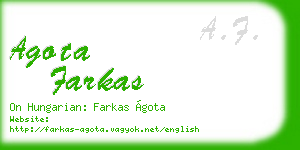 agota farkas business card